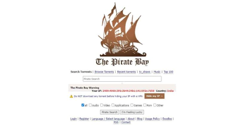 The Pirate Proxy Bay List Movies Download Website